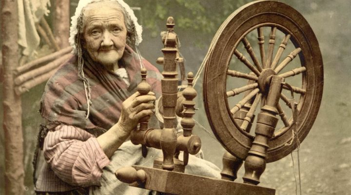 Wise woman at a spindle